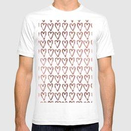 Chic faux rose gold modern romantic heart pattern T-shirt