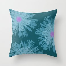 Big Blue Flowers Throw Pillow