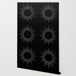 Sunburst Moonlight Silver on Black Wallpaper