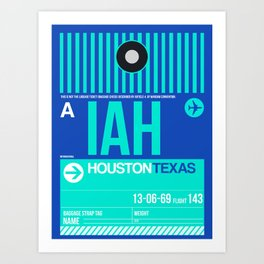 IAH Houston Luggage Tag 2 Art Print