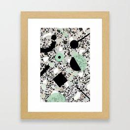 Terrazzo Design Memphis Style Green and Black Framed Art Print