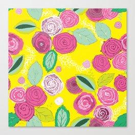 Belles Fleurs - roses bright pattern Canvas Print
