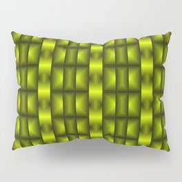 Fashionable large floral from small yellow intersecting squares in stripes dark cage. Pillow Sham