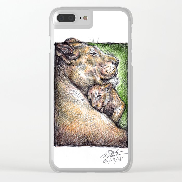 Lioness and Cub Clear iPhone Case