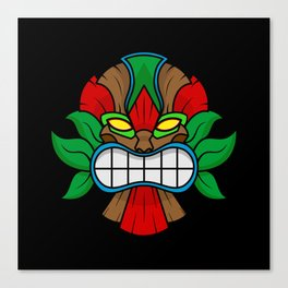 Tiki Mask - Black Background Canvas Print