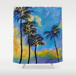 Moon over Palm Trees Shower Curtain