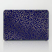 navy iPad Cases featuring Gold Berry Branches on Navy by Cat Coquillette