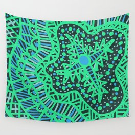 Doodle 16 Blue Wall Tapestry