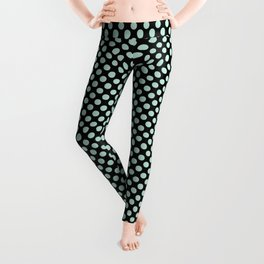 Black and Honeydew Polka Dots Leggings