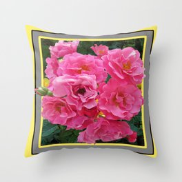 CLUSTERED PINK ROSES YELLOW-GREY ART Throw Pillow