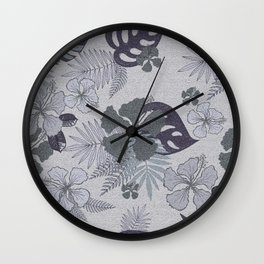 Blue gray palm leaves and hibiscuses. Wall Clock