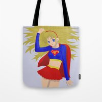 supergirl Tote Bags featuring Supergirl by revolver74