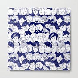 Faces People Blue Metal Print