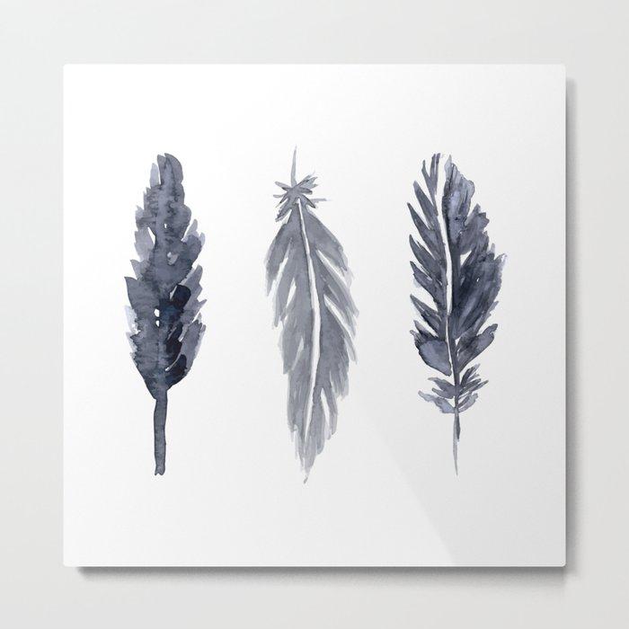 Black watercolor feathers Metal Print