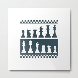 Chess Board Pieces Metal Print