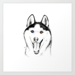 Smiling Husky Art Print