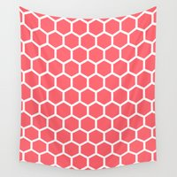 honeycomb Wall Tapestries featuring Honeycomb Coral by Beautiful Homes