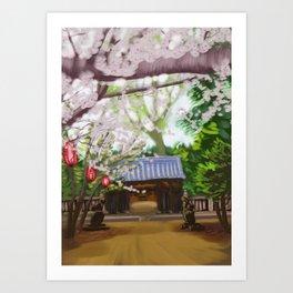 Cherry trees in Japan Art Print