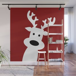 Reindeer on red background Wall Mural