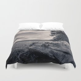 Black and White Boundary Waters Lake Duvet Cover