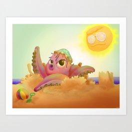 Poulpe plage soleil Art Print