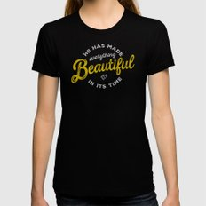 BEAUTIFUL IN TIME Black Womens Fitted Tee X-LARGE