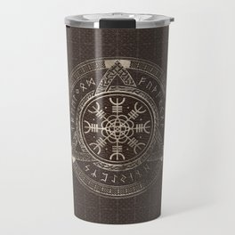 The Helm of Awe Brown Leather and gold Travel Mug