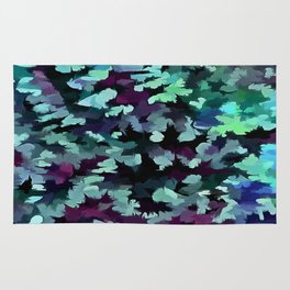 Foliage Abstract Pop Art In Teal, Blue and Green Rug