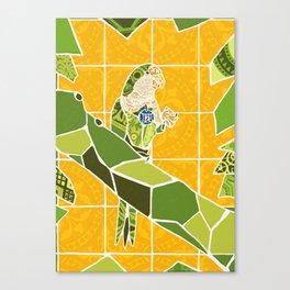 Barcelona Bird Monk Parakeet Parrot with Tiles Canvas Print