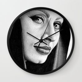Sophia Loren Drawing By Faten  Wall Clock