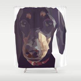Geometric Sausage Dog Digitally Created Shower Curtain
