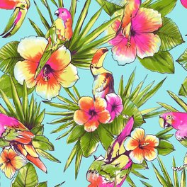 Framed Art Print - Tropical flowers with parrots - 2lips