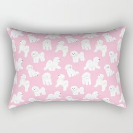 Bichon Frise Pattern (Pink Background) Rectangular Pillow