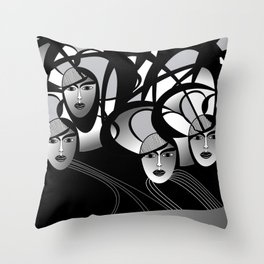 oriental women Throw Pillow