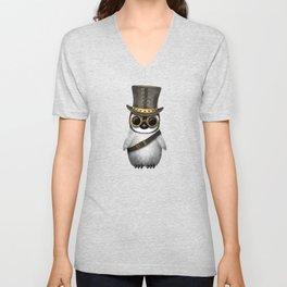 Steampunk Baby Penguin on Blue Unisex V-Neck