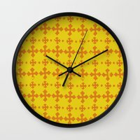 yellow pattern Wall Clocks featuring yellow pattern by JesseRayus