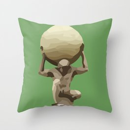 Man with Big Ball Illustration green Throw Pillow