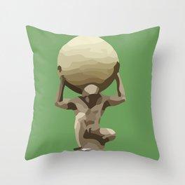 Man with Big Ball Illustration green Throw Pillow