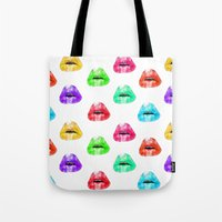 lip Tote Bags featuring Lip Print by Vicky Ink.