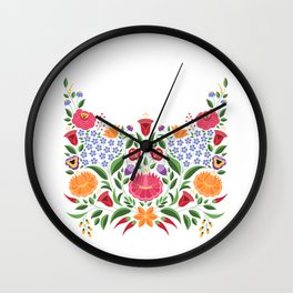Hungarian folk pattern – Kalocsa embroidery flowers Wall Clock