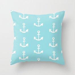 Anchor - mint blue Throw Pillow