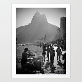 Ipanema Beach Rio De Janeiro Black And White Art Print