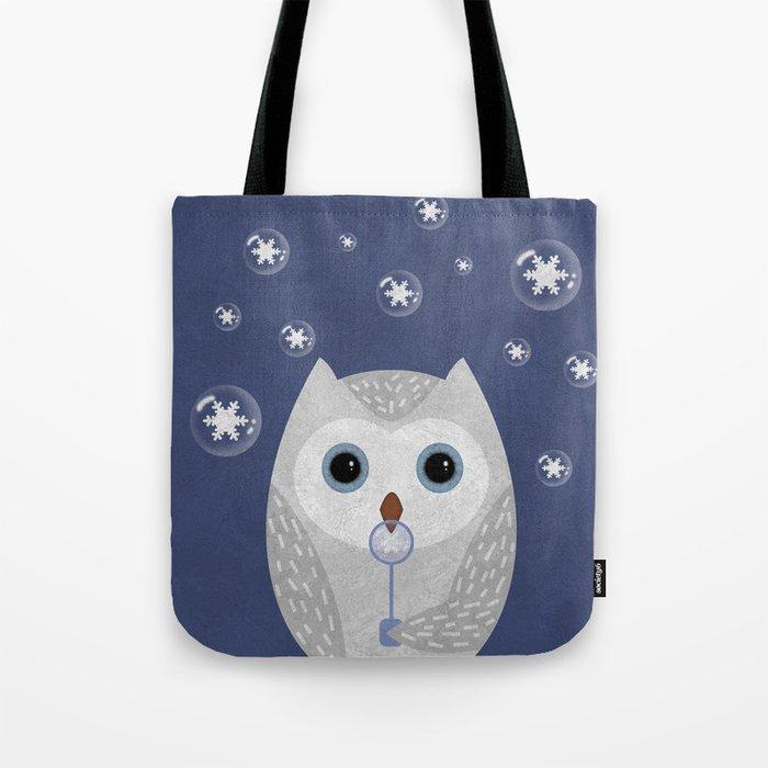 Christmas Owl Blue Marble Tote Bag