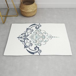 Modern minimalistic damask flourish element illustration Rug
