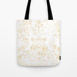Vintage Floral Pattern White Wash Tote Bag