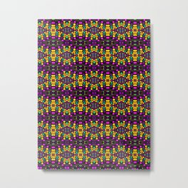 Yellow And Purple Mosaic Metal Print