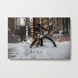 Bike stuck in snow Metal Print
