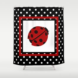 Ladybug And Polkadots Shower Curtain