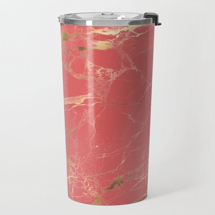 Marble, Coral + Gold Veins Travel Mug