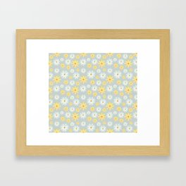 Watercolour Daisies Pattern | Grey Framed Art Print
